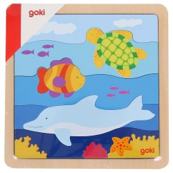 Puzzle en bois pièces horizontales Océan Enfant 2 ans