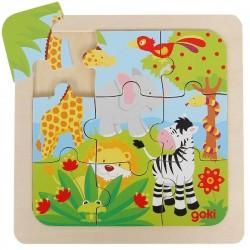 Puzzle en bois Animaux de la jungle pour enfants 2 ans