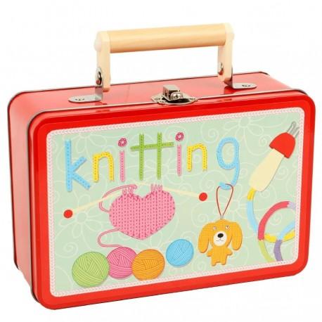 Kit pour ticoter enfant Valise Tricot-pompons-crochet-tricotin-couture