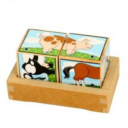 Puzzle sons des Animaux de la ferme 2 cubes