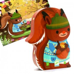 Puzzle Djeco boite silhouette Ecureuil 24 pcs Enfants 3 ans +
