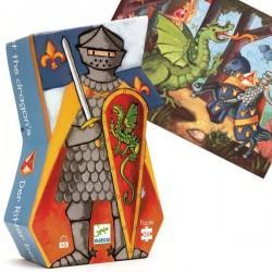 Puzzle Djeco silhouette Chevalier et dragon 36 pieces 4 ans +