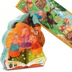 Puzzle Djeco silhouette livre histoire Les 3 petits cochons 24 pcs 3 ans +