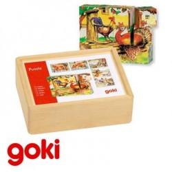 Puzzle de 12 cubes Jeu en bois 6 puzzles Enfant 4 ans +