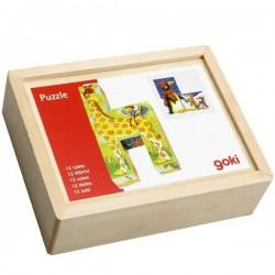 Puzzle cubes en bois animaux rigolos 12 cubes pour 6 puzzles