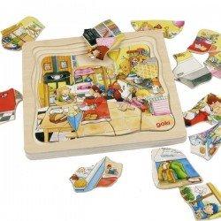 Puzzle éducatif en Bois plusierus couches Ma journée 46 pcs Enfants 4 ans +