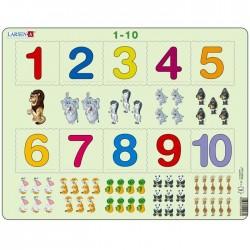 Puzzle apprendre les chiffres puzzle éducatif Larsen de 1 à 10 Maternelle Enfants 3 ans +