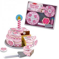 Jouet gâteau d'anniversaire à étage en bois avec bougie à découper Enfants 3 ans +