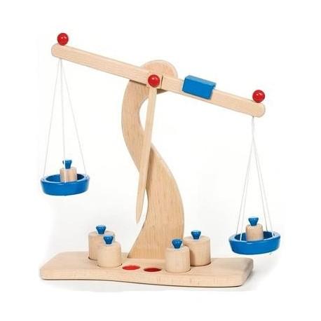 Jouet Balance en bois Plateaux métal la Marchande Enfant 3 ans +