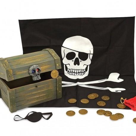 Coffre de pirate en bois 19 pcs 24 x 19 cm
