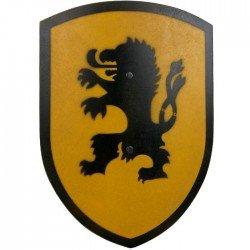 Bouclier en bois de Chevalier Lion jaune 37 cm poignée cuir