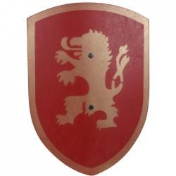 Bouclier en bois pour Enfants Lion rouge 37 cm poignée cuir