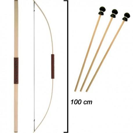 Arc d'enfant en bois de frêne - 3 flèches – Haut 1 m