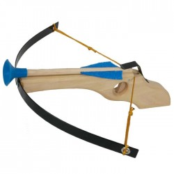 Jouet Arbalète en bois et métal 3 flèches ventouses