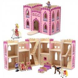 Jouet en bois Château de Princesse en bois avec figurines et meubles