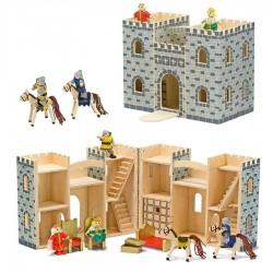Jouet Château fort en bois avec figurines meubles 12 pièces