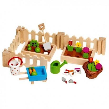 Accessoires pour maisons de poupées - Mon petit jardin en bois 32 pcs