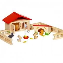 Animaux en bois Clapier à lapins 25 pcs pour Maison de poupées