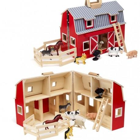 Ferme maisonnette en bois avec 7 animaux inclus