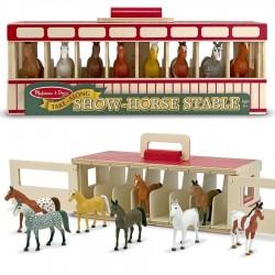 Jouet figurines chevaux Étable en bois 8 chevaux de spectacle