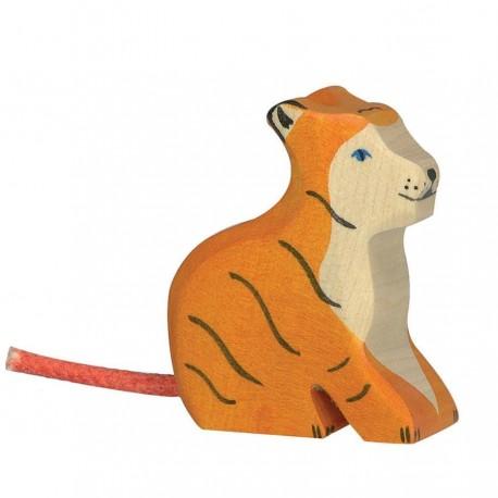 Animaux en bois petit tigre assis figurine Holztiger