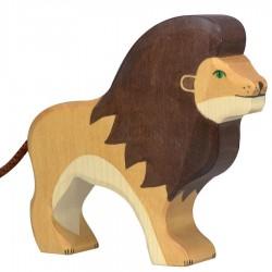 Animaux en bois lion figurine Holtztiger