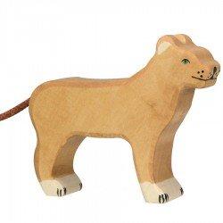 Animaux en bois lionne figurine Holztiger