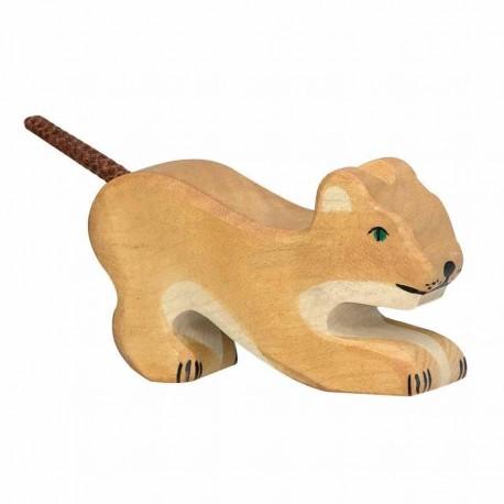 Animaux en bois petit lion jouant figurine Holztiger