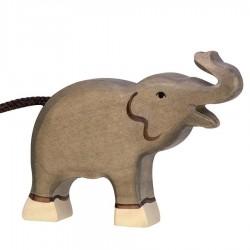 Animaux en bois petit éléphant trompe haute figurine Holztiger