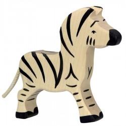 Animaux en bois petit zèbre figurine Holztiger