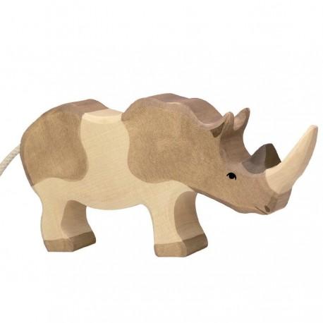 Animaux en bois rhinocéros figurine Holztiger