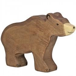Animaux en bois ours brun figurine Holztiger