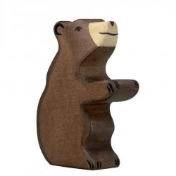 Animaux en bois petit ours brun assis figurine Holztiger