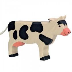 Animaux en bois vache debout noire figurine Holtztiger