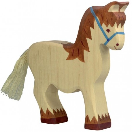 Animaux en bois cheval de trait figurine Holztiger