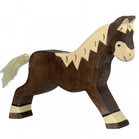 Animaux en bois cheval marron foncé figurine Holztiger