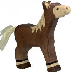 Animaux en bois poulain marron foncé figurine Holztiger