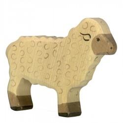 Animaux en bois de la ferme mouton debout figurine Holztiger
