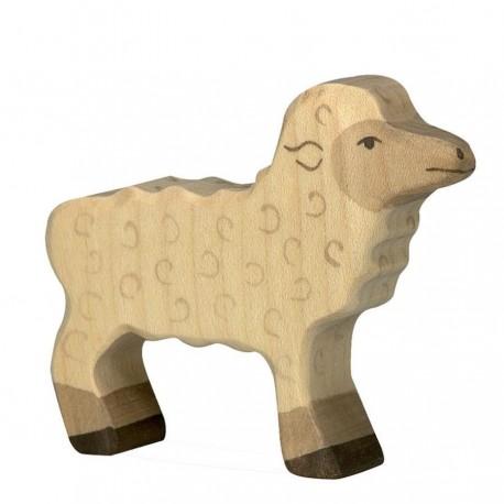 Animaux en bois de la ferme agneau figurine Holztiger