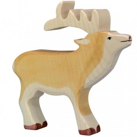 Animaux en bois de la forêt cerf figurine Holztiger
