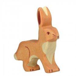 Animaux en bois lapin figurine Holztiger