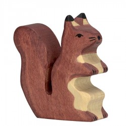 Animaux en bois écureuil marron figurine Holztiger