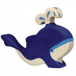 Animaux en bois baleine bleue avec eau figurine Holztiger