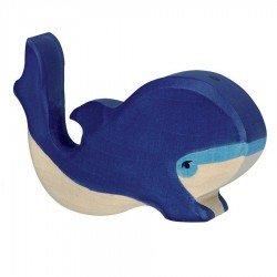 Animaux en bois poisson petite baleine bleue figurine Holztiger