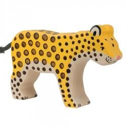 Animaux en bois léopard figurine Holztiger