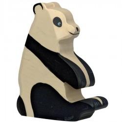 Animaux en bois panda assis figurine Holztiger