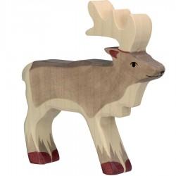 Animaux en bois renne figurine Holztiger