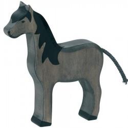 Animaux en bois cheval noir figurine Holztiger