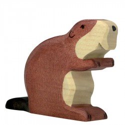 Animaux en bois castor figurine Holztiger