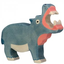 Animaux en bois hippopotame figurine Holztiger
